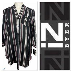 NWT IZ Byer top-black with stripes